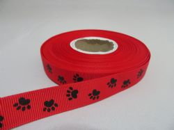 Bright Red with Black Paw Print  Grosgrain ribbon, 2 or 20 metres, Double sided 16mm